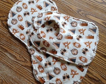 Burp Cloth and Matching Bib Flannel and Chenille, Camping