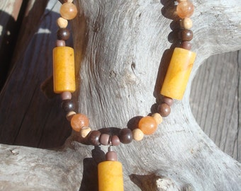 Dollie a Beaded Necklace, Warm and Natural Earth Tones, FREE SHIPPING, Browns