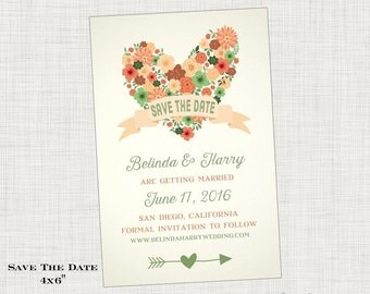 Save the Date Card or Postcard - Rustic Wedding, heart flower