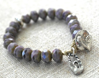Lavender rustic Picasso glass beads - gorgeous artisan sterling silver bracelet