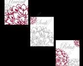 Floral Flower Gray and Burgundy Wall Art Prints Decor Bathroom Unwind Soak Relax UNFRAMED PHOTOS Dahlia Peonies Bursts En-suite + (options)