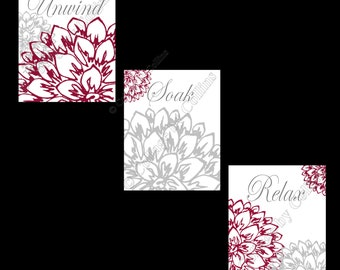 Floral Flower Gray and Burgundy Wall Art Prints Decor Bathroom Unwind Soak Relax UNFRAMED PHOTOS Dahlia Peonies Bursts En-suite + (options)