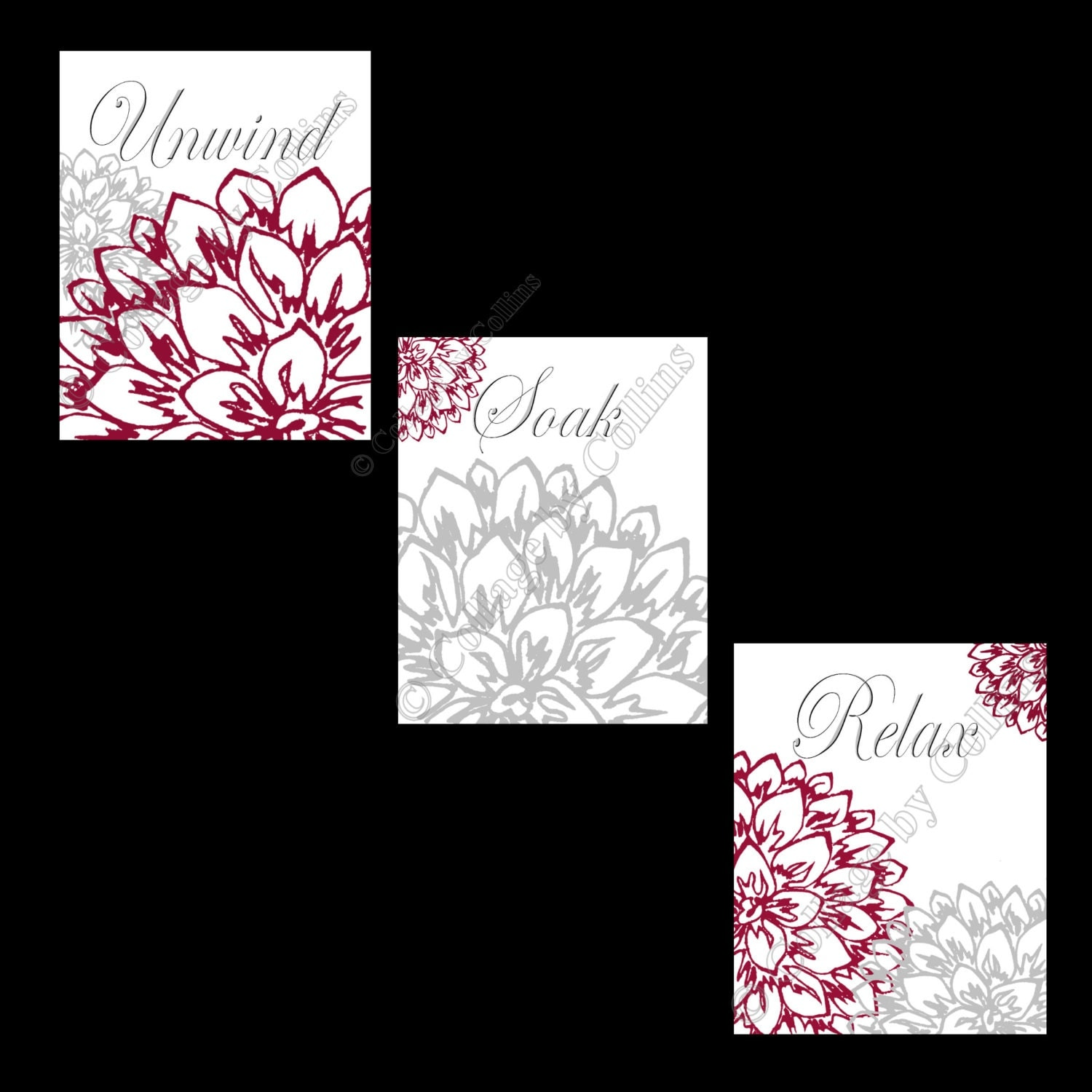 Floral Flower Gray And Burgundy Wall Art Prints Decor Bathroom