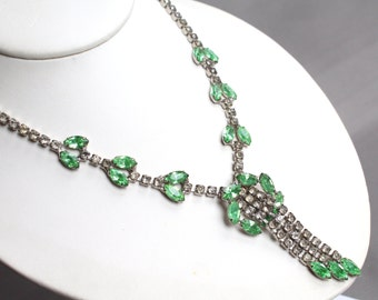 Vintage rhinestone lavalier Y necklace with green rhinestone leaf design, rhinestone tassel
