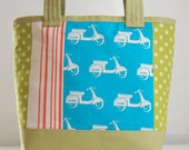 Echino Scooters Blue Fabric Tote Bag - READY TO SHIP