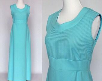70's Empire Waist Maxi Dress / Sleeveless / Double Knit / Blue / XSmall to Small