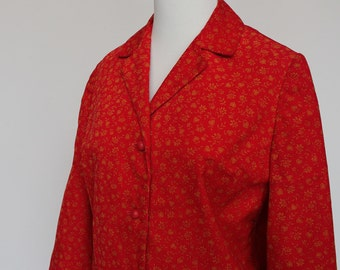 60's / 70's Cropped Corduroy Jacket / Red & Gold Print / Ball Buttons / XSmall to Small