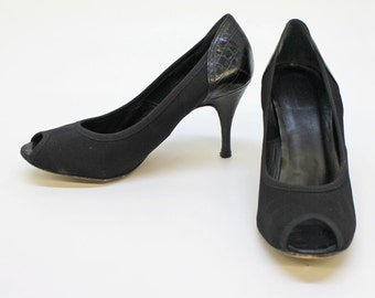80's Black Peep Toe Pumps / Crocodile / Stiletto Heel / Donald Pliner Couture / Size 8 Medium