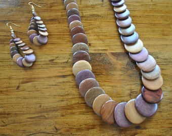 1970s Wood Necklace and Earrings SET / chunky ethnic statement