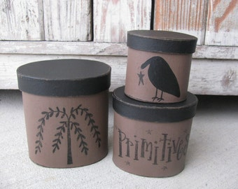 Primitive Willow Tree and Crow Oval Set of 3 Stacking Boxes GCC5126