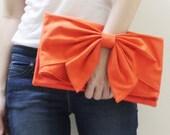 New Year SALE - 20% OFF BOW in Orange / Clutch Bag / Dinner Bag / Handbag /  Wristlet / Mini iPad / Tablet / Women / For Her / Gift Ideas