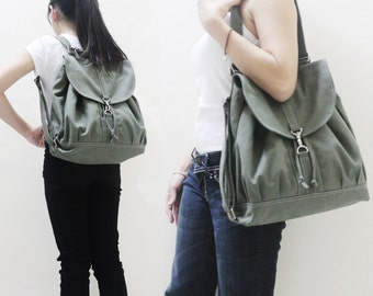 Halloween SALE - 20% OFF Pressie in Army Green LAST 3 / Backpack / Satchel / Rucksack / Messenger / Tote / Women / For Her