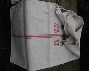 C 104 Grain Sack antique FADED RASPBERRY RED pillow benchcushion 37.37 long wedding decoration