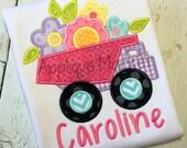 Machine Embroidery Design Applique Dump Truck Flowers INSTANT DOWNLOAD