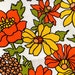 Feelin Groovy Flower Power 60s Barkcloth// Retro Hippie Chic Floral Fabric// Cotton Yardage// Upholstery Weight// New Old Stock BTY