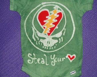 The Grateful Dead Stealie Baby Onesie Steal your Heart Baby Batik  CUSTOM MADE
