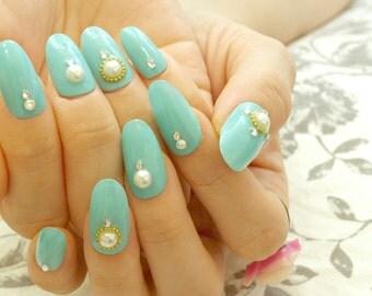 Mint nail, press on nail, simple nail, nail art, acrylic nail, glue on nail, false nail, pearl, summer nail art, Japanese nail, 3D nail,