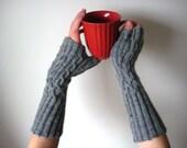 Handknitted gray woolen long fingerless gloves