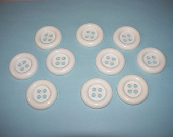10  X-Large, White  Buttons, Lot 2705 (Free US Shipping)