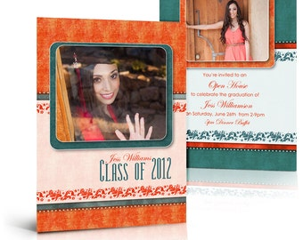 SENIOR Card Sets for Photoshop - TANGERINE TANGO - 5x7  Flat and Folded Press Printed Card Templates for Photographers & Scrapbookers.