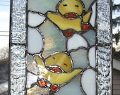 Hatching Chicks Stained Glass Suncatcher/Panel...One of a Kind