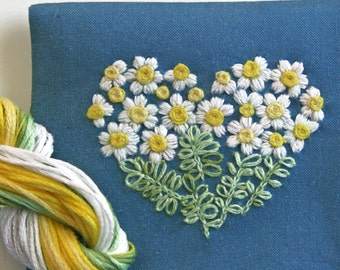 Crewel Embroidery Pattern DIY Embroidery Kit Gift Pouch daisy heart on blue teal  flower embroidery kit