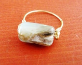 Raw Opal Gemstone Ring, Wire Wrapped Ring
