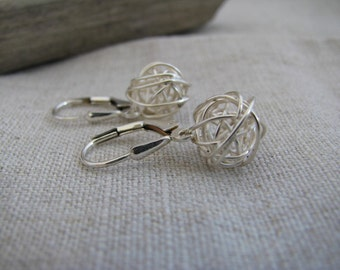 Yarn Ball Earrings Love Knot Earrings Knot Earrings Wire Ball Earrings Sterling Silver