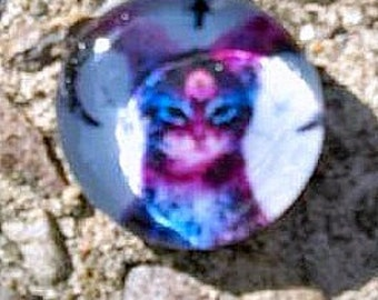 So Evil, He's cute! Satan Kitty with inverted crosses and horns- Collage glass pendant, goth, pastel goth, hipster, hippie, grunge