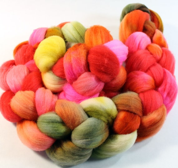 Merino Wool Roving - Hand Painted - Hand Dyed for Spinning or Felting - 4oz - Color Play # 86