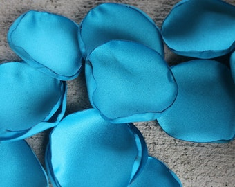 Set of 100 Satin Wedding Flower Petals Party Table Aisle Runner Decorations Custom Wedding Flowers Bouquets Flower Girl-Turquoise Shown