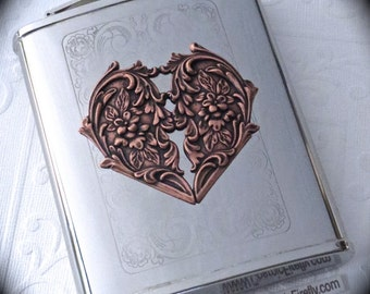 Copper Heart Flask Gothic Victorian Flask Vintage Inspired Silver Plated Stainless Steel Woman's Steampunk Flask Woman's Flask Gifts For Her