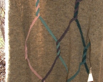 Pure Wool Made in Scotland LS Pull Over Crew Neck Cable Sweater - Size M j1715