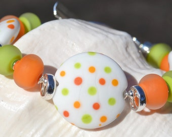 FRESH SQUEEZED-Handmade Lampwork and Sterling Silver Bracelet