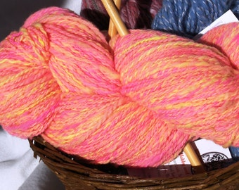 Neon Fluorescent Pink and Yellow Wool Yarn. Handspun Worsted Weight Rambouillet Wool.  Big Skein at 365 Yards and 5.7 Ounces. One of a Kind!
