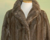 70s Faux Mink Faux Fur Coat Luxurious Plush Tissavel Fabric Imported from France Country Pacer