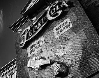 Pepsi-Cola Vintage Sign Art - 8x10 Photography Print of Las Vegas Art - Black and White Photo Print - Home or Office Decor