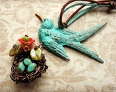 Mama bird with wire wrapped nest and flowers, Spring necklace