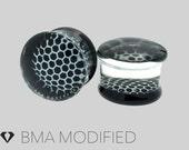 2g (6mm) HoneyComb B&W Pyrex Glass Plugs