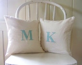 set of 2 initial pillow covers / aqua / monogram / letter pillow / throw pillow / home decor / engagement / wedding / anniversary / gi