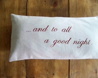 free shipping - and to all a good night christmas pillow / bed pillow / decoration / holiday home decor / bedroom / christmas decoration /