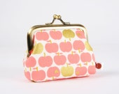 Metal frame change purse - Apples in gold and pink - Deep mum / Japanese fabric / Peachy pink / Metallic gold / lime green chartreuse hearts