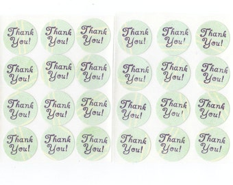 Thank You Envelope Seals Stickers (24) Package Decor / 1 Inch / (Set 6)
