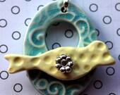 Sea Blue Crackle Swirls and Light Yellow Polka Dot Bird Clasp - Large Signature Bird Focal Toggle Clasp