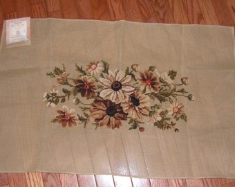 "Completed Vintage Daisy Needlepoint by Merino Wool Co., Inc.  36"" x 23"" canvas size"