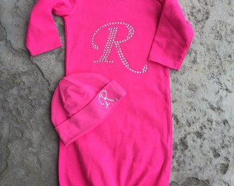 Custom Monogram Initial Gown for Infant Newborn with Initial photo prop an Oh BABy Original Take Me Home Outfit