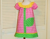 Peasant Dress in Pink with Yellow Flower Ruffle