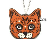 Ginger Cat Necklace Sugar Skull Style by Dolly Cool Kitty Day of the Dead