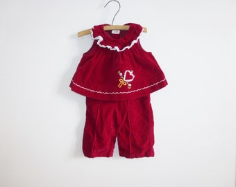 Vintage Velveteen Baby Outfit