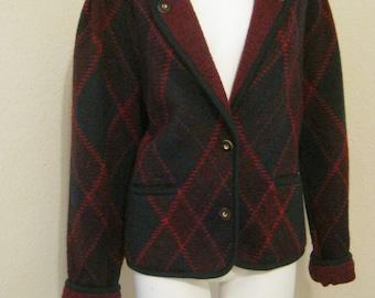 Vintage 70s 80s preppy plaid Geiger jacket, wool mohair blend sweater jacket, classic Geiger warm jacket, made Austria jacket, size L Geiger